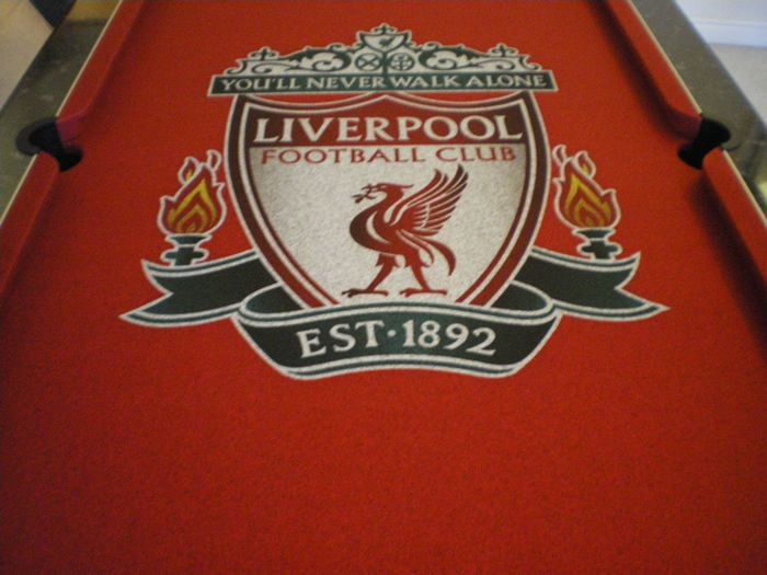 Pool Table Cloth With Liverpool Football Club Badge In