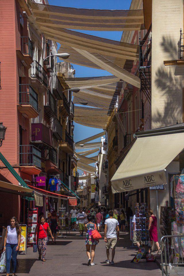 Sierpes Street in Seville, Spain