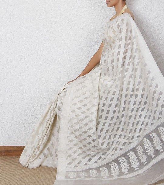 White Handloom Banarasi Kora Silk Saree | Indian Glamour ...