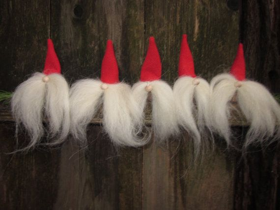 Five Tomten Ornaments with Red Hats and White by Tomtenology