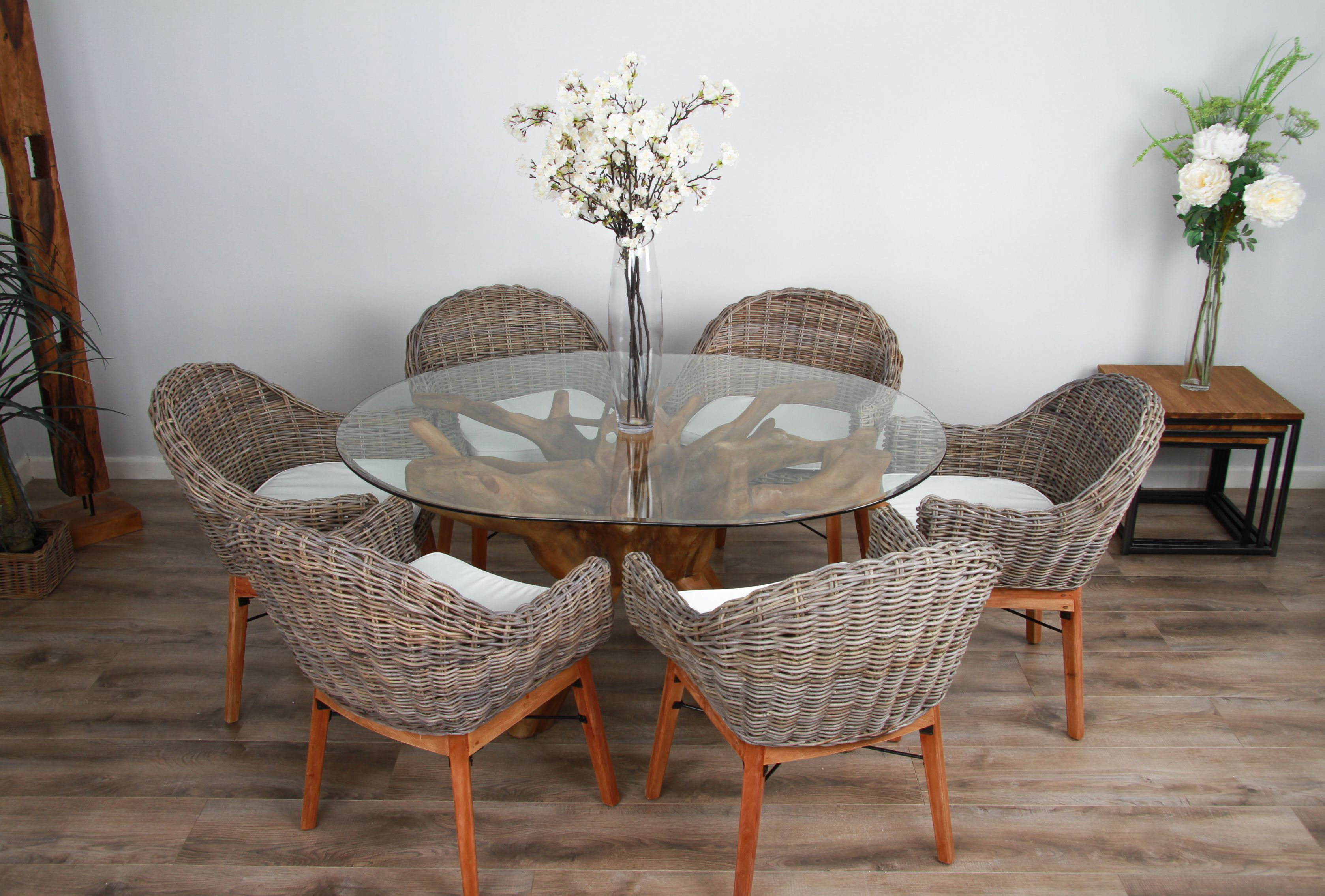 1 2m Reclaimed Teak Root Circular Dining Table With 4 Or 6 Scandi