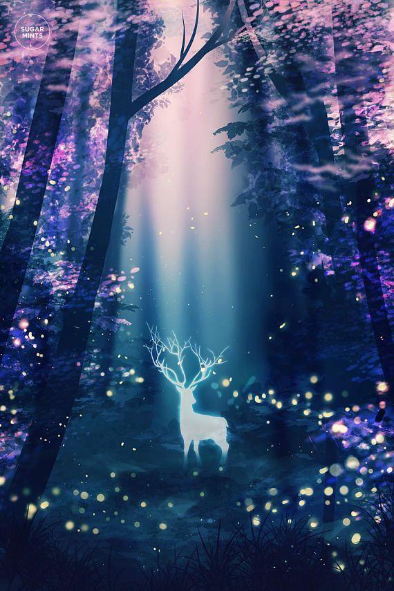 Deer fireflies art poster, Surreal Poster, Art Print, Anime Poster, Space Poster...