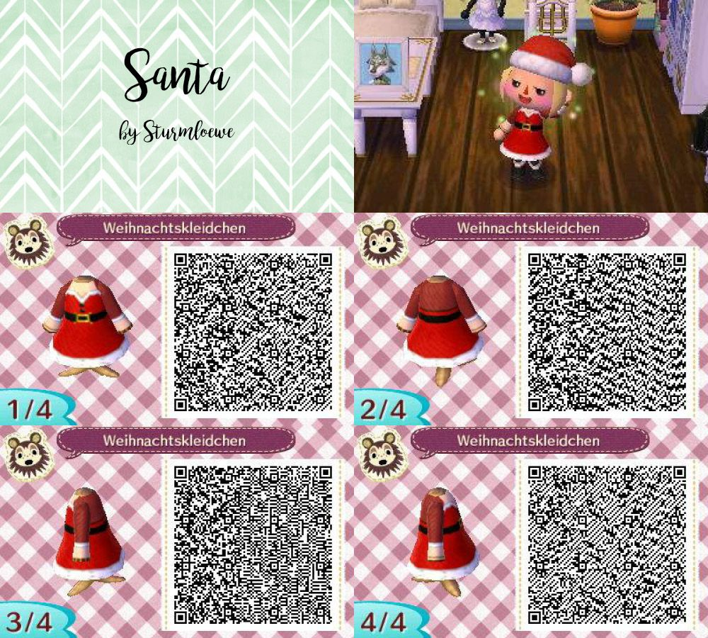 Animal Crossing New Leaf qr code cute santa christmas dress outfit ...