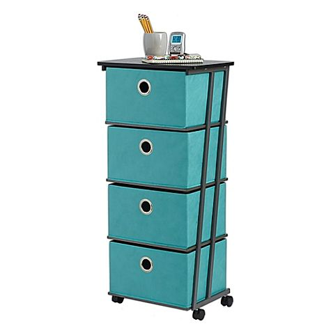 Add convenient, lightweight, portable storage space to any room with this 4-Drawer Storage Cart from Studio 3B featuring a steel frame in a Z formation on each side. Cart has convenient fabric drawers and a solid work surface on top.