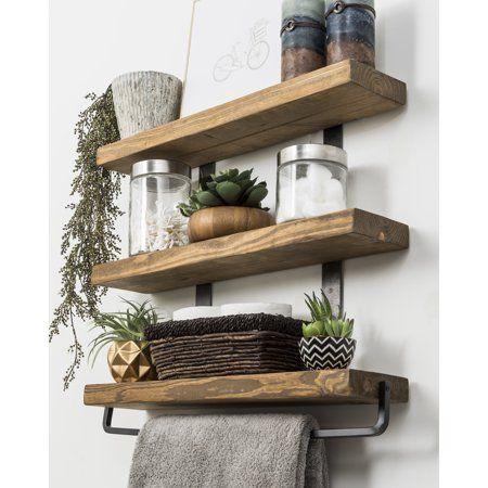 Photo of Industrial 3-Tier Floating Shelf with Towel Bar, 24″ – Walmart.com