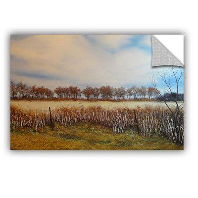 "ArtWall Across the Field Wall Mural Size: 32"" H x 48"" W x 0.1"" D"