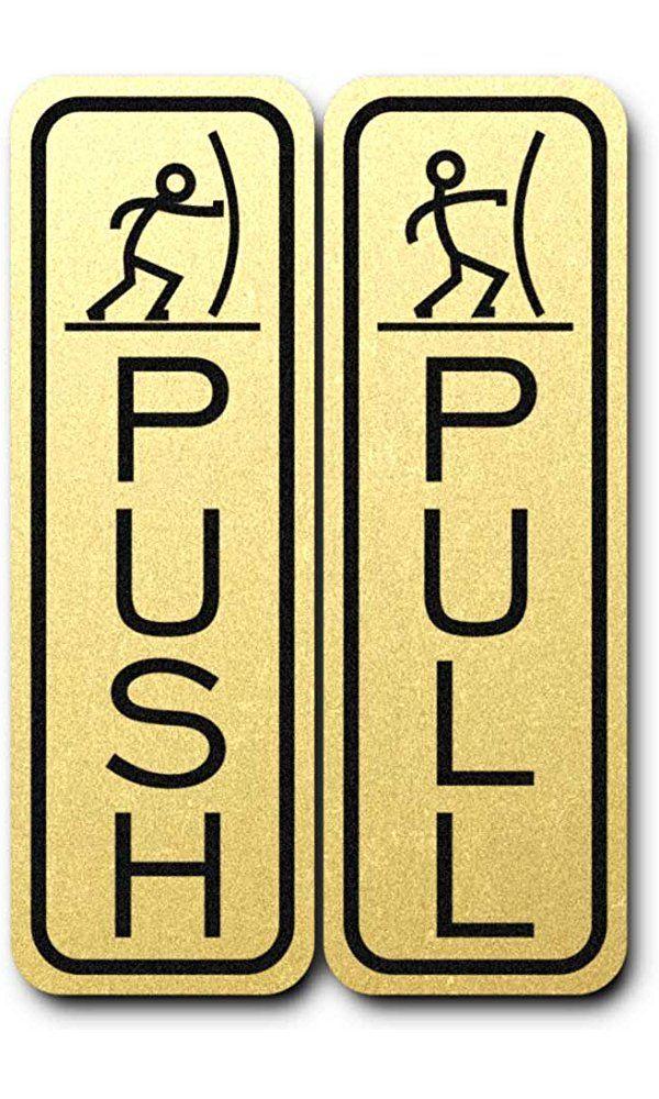 Classic Fun Push Pull Door Sign Brushed Gold Best