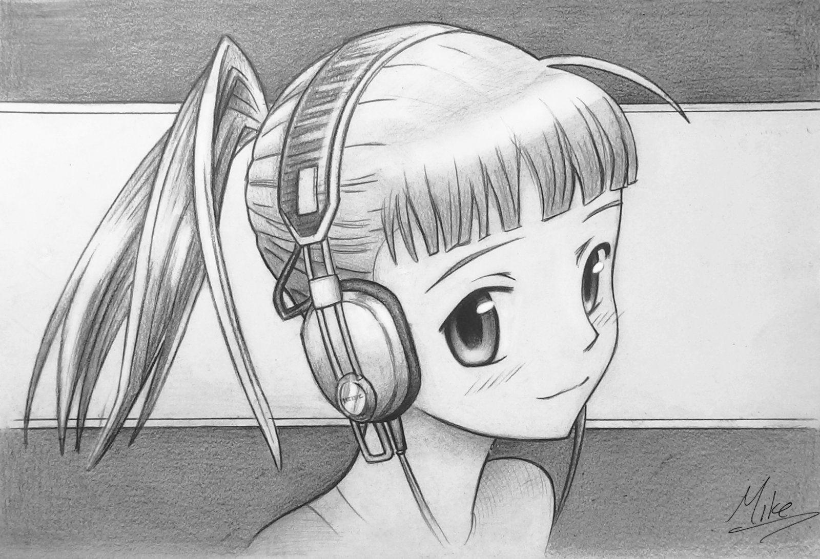 Картинки аниме девушки в наушниках для срисовки