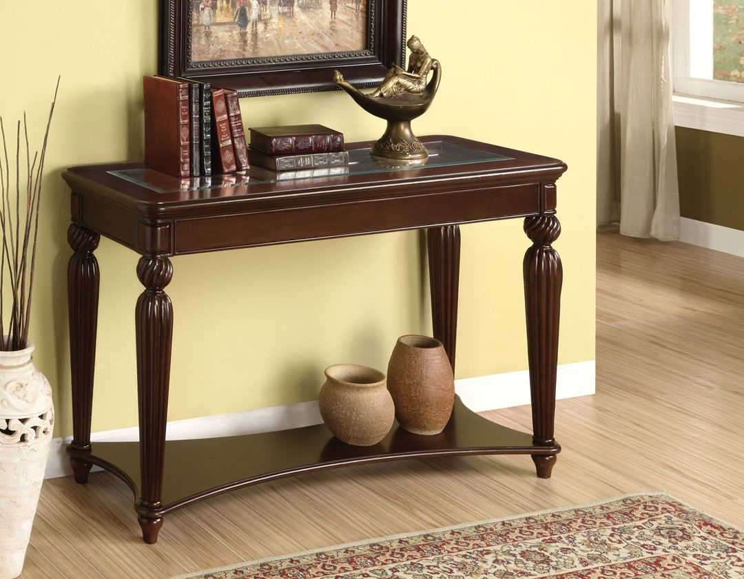 Cm4390s Windsor Classic Dark Cherry Finish Wood Sofa Console Entry Table With Glass Top Entryway Tables Wood Sofa Entryway Furniture