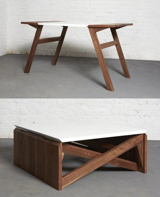 MINIMAL COFFEE TABLE EASILY TRANSFORMS INTO DINING ROOM TABLE