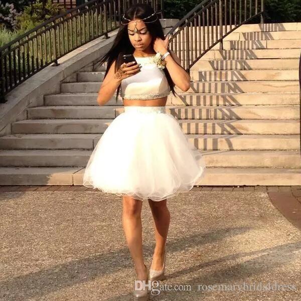 aa0160b7a4 White Two Pieces Homecoming Dresses TuTu Skirt Cute Black Girl Short Party  Dress Vestido De Graduacion Cocktail Dress Bridesmaid Dress Homecoming Dress  ...