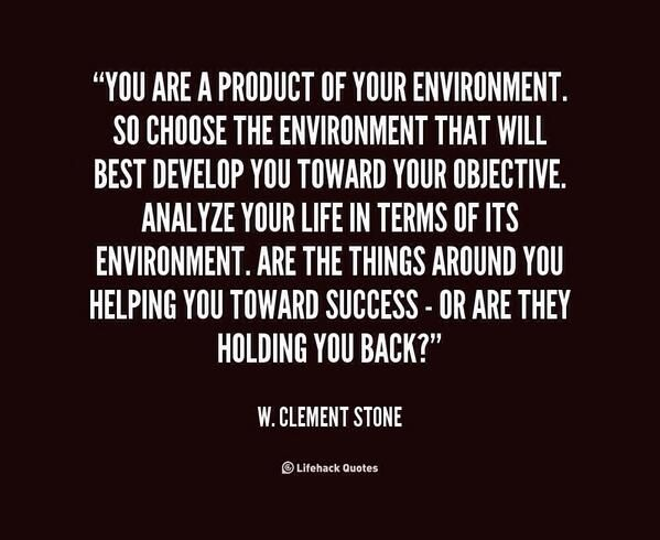 You Are A Product Of Your Environment Success Past Quotes