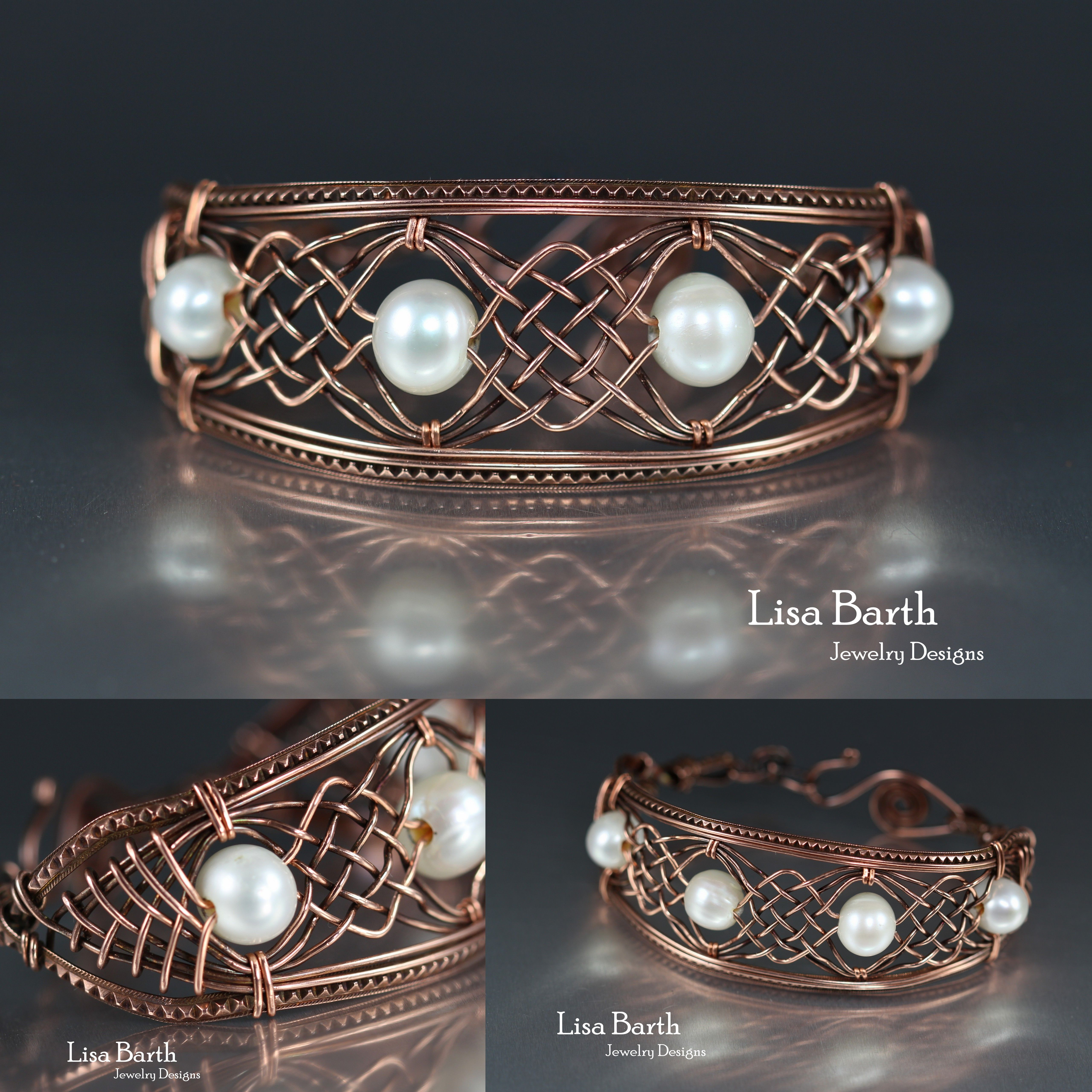 Hand woven copper bracelet with pearls. It was hard not to scratch ...