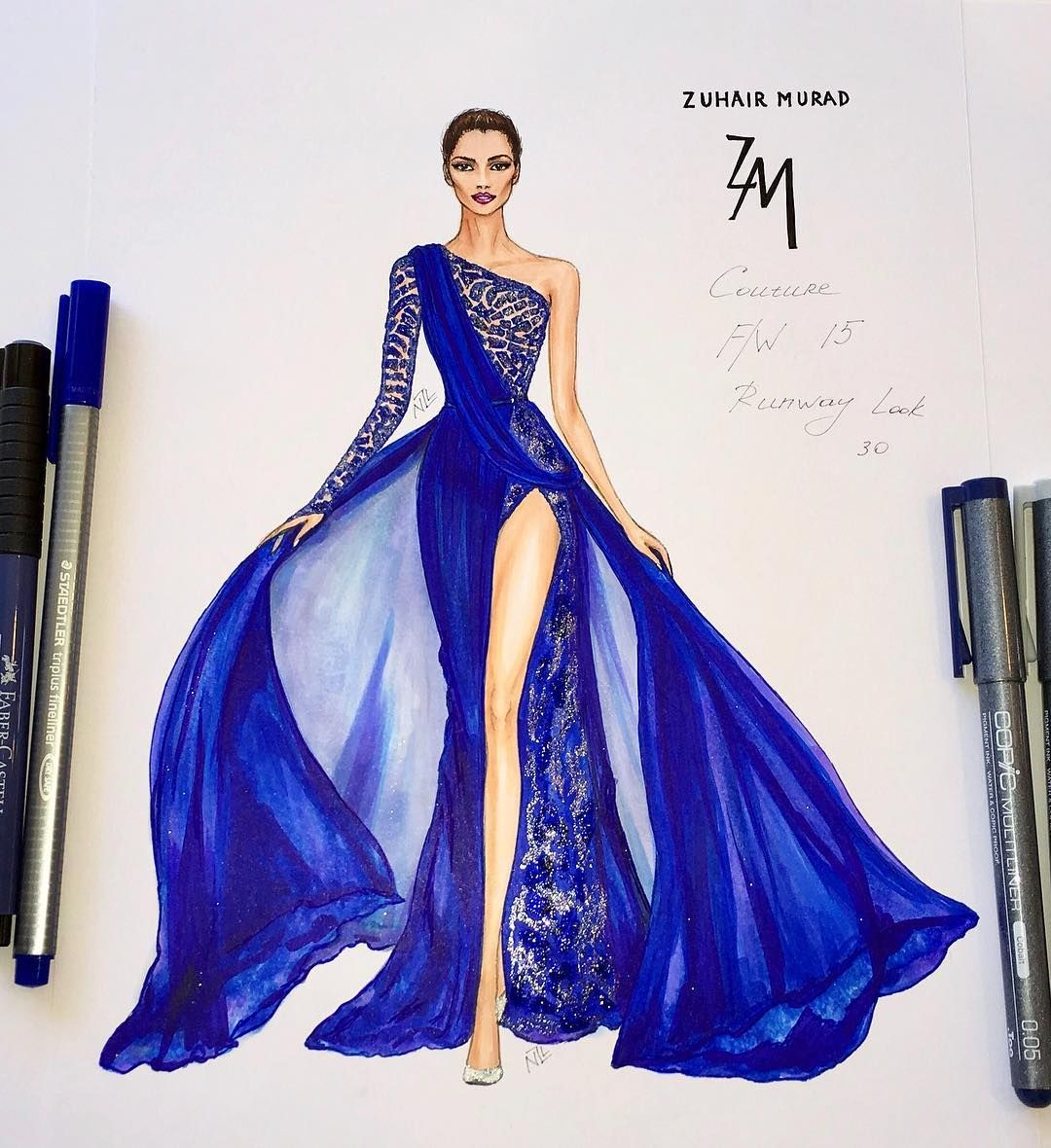 "Photo of NataliaZorinLiu on Instagram: ""#fashionillustration #zuhairmurad #luxury #designer #paris #glamour #luxurious #couture #event #gown #embroidery #wedding #hautecouture…"""