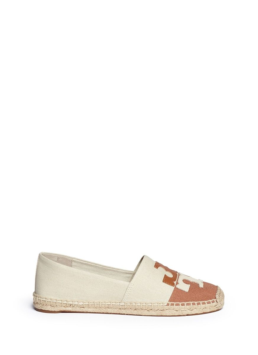 8f805fe9489a TORY BURCH  Jamie  Leather Logo Colourblock Canvas Espadrille Slip-Ons.   toryburch  shoes  slip-ons