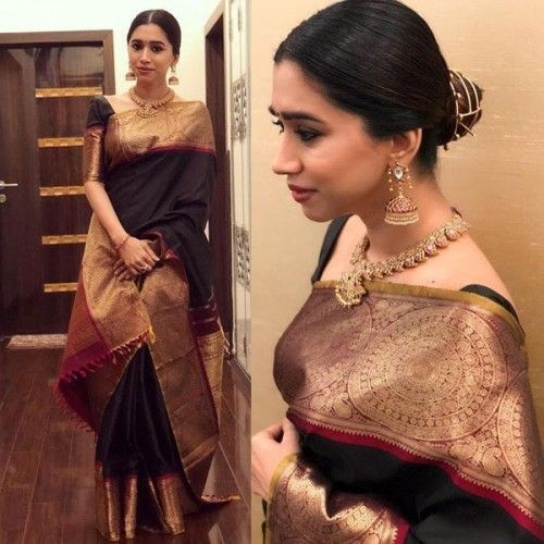 c91544a983 Zoya Aarti Ravi Silk Black Bollywood Designer Saree - SR09 in 2019 ...