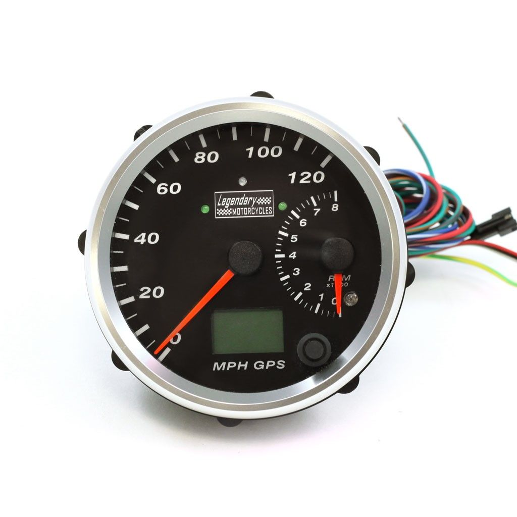 "4"" Chrome w/ Black Face Legendary Motorcycles Electronic GPS Speedometer/ Tachometer"