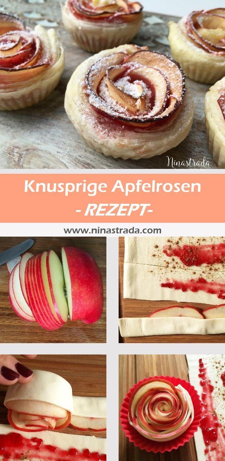 Apfelrosen aus knusprigen Blätterteig | ninastrada