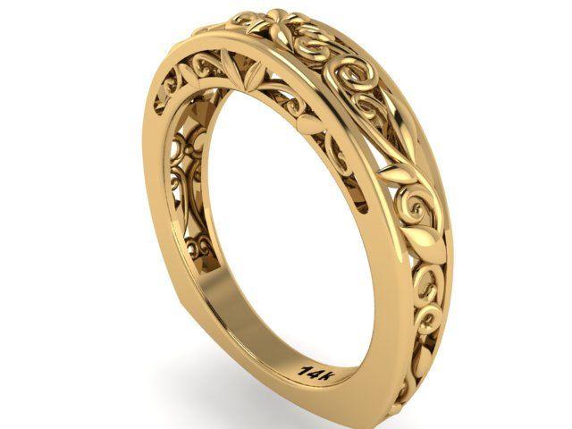 Euro Shank Wedding Band Rustic Style Leaves And Vine Engagement Feminine Ring