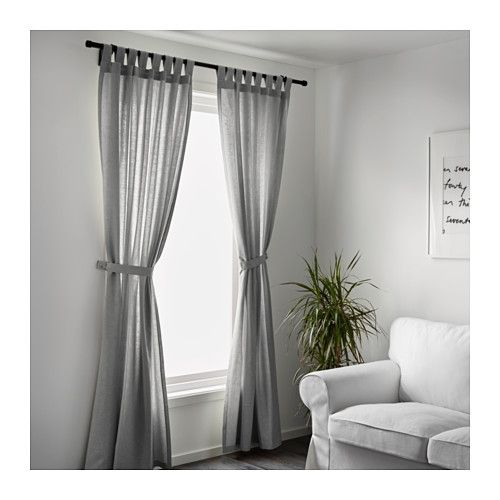LENDA 2 Gardinen + Raffhalter, grau Vorhänge, Gardinen und - gardinen wohnzimmer grau