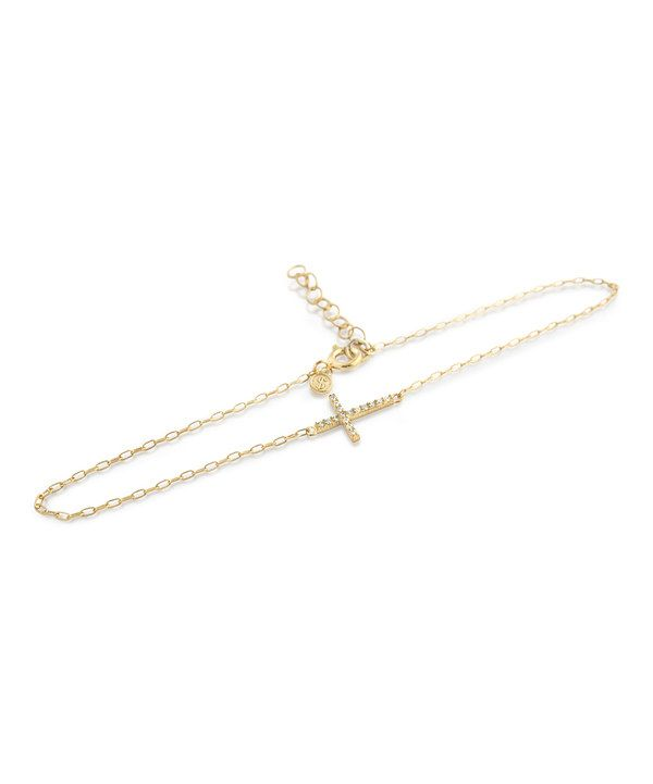 Another great find on #zulily! Gold & Sparkle Cross Charm Anklet by Chloe David #zulilyfinds