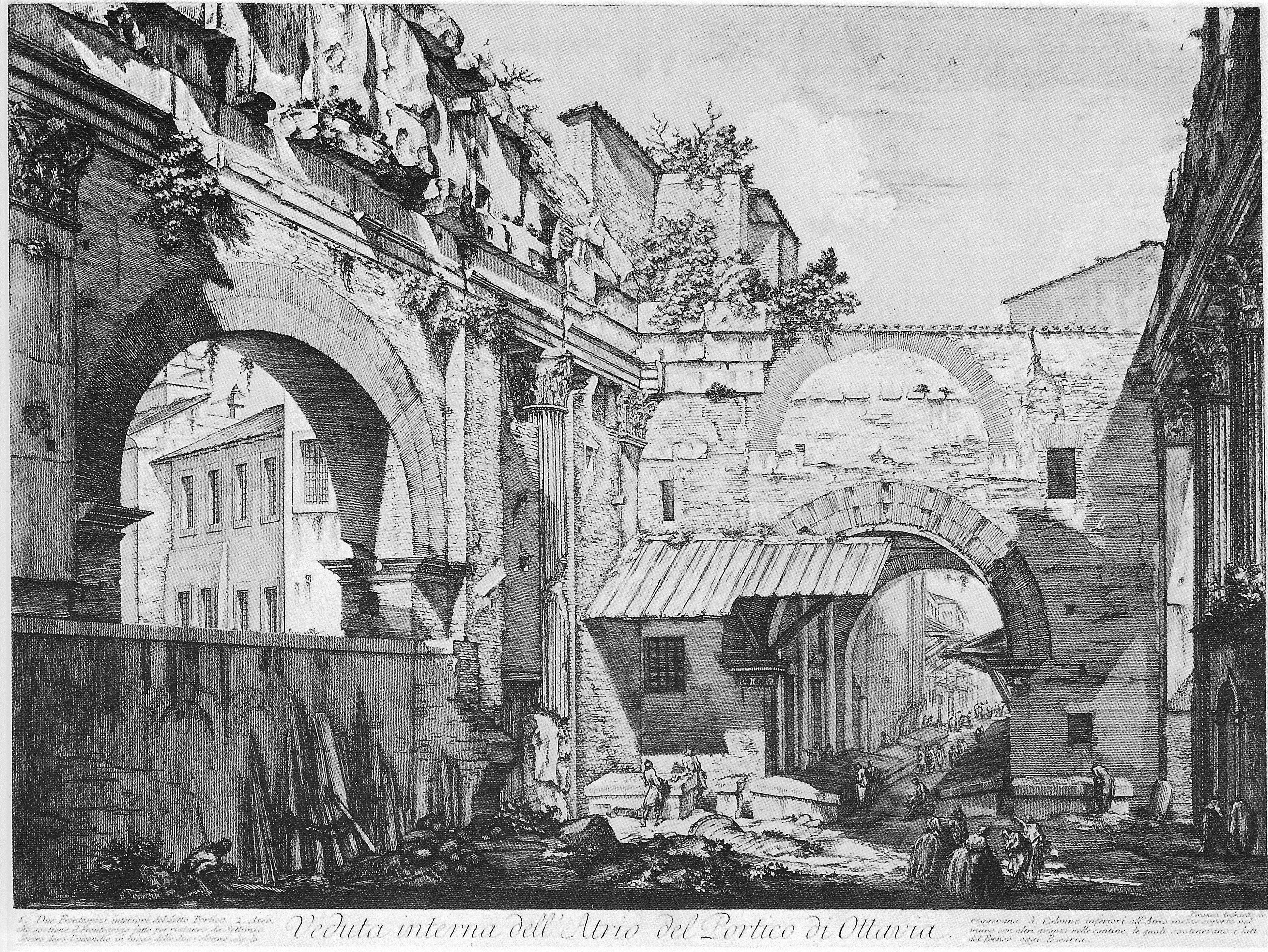 Veduta dell`Atrio del Portico di Ottavia - Giovanni Battista Piranesi