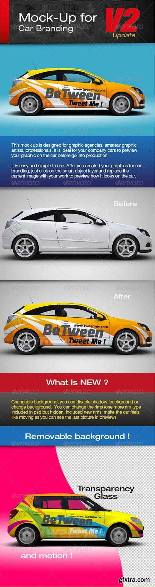 Graphicriver Mock Up For Car Branding Vector Photoshop Psdafter Effects Tutorials Template 3d
