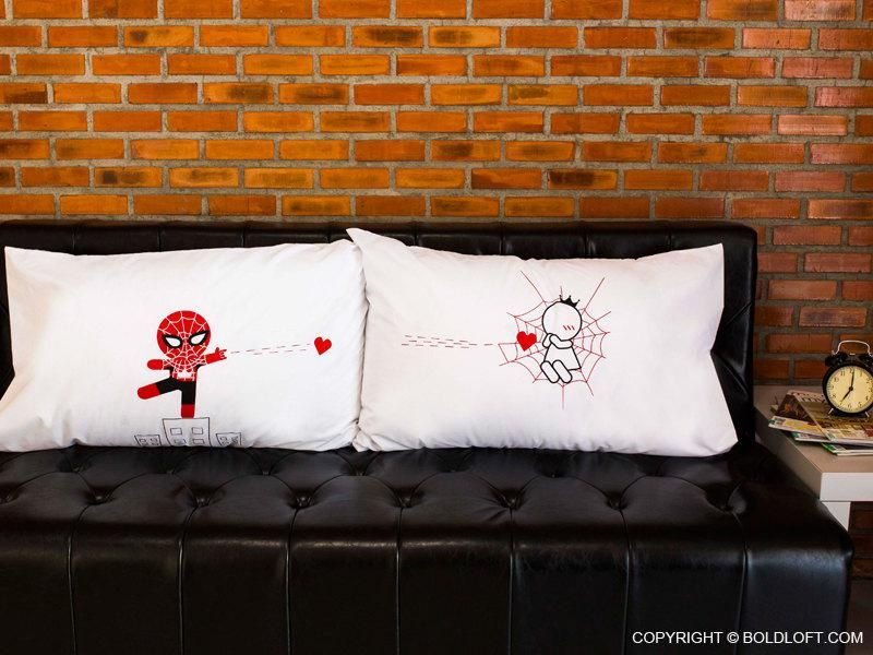 His & Her's #SpiderMan & #MaryJane Matching Pillow Cases. #Love #ValentinesDay