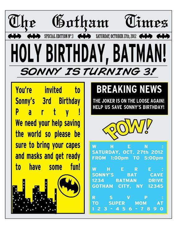 PRINTABLE Batman Birthday Party Newspaper Invitation Black Friday