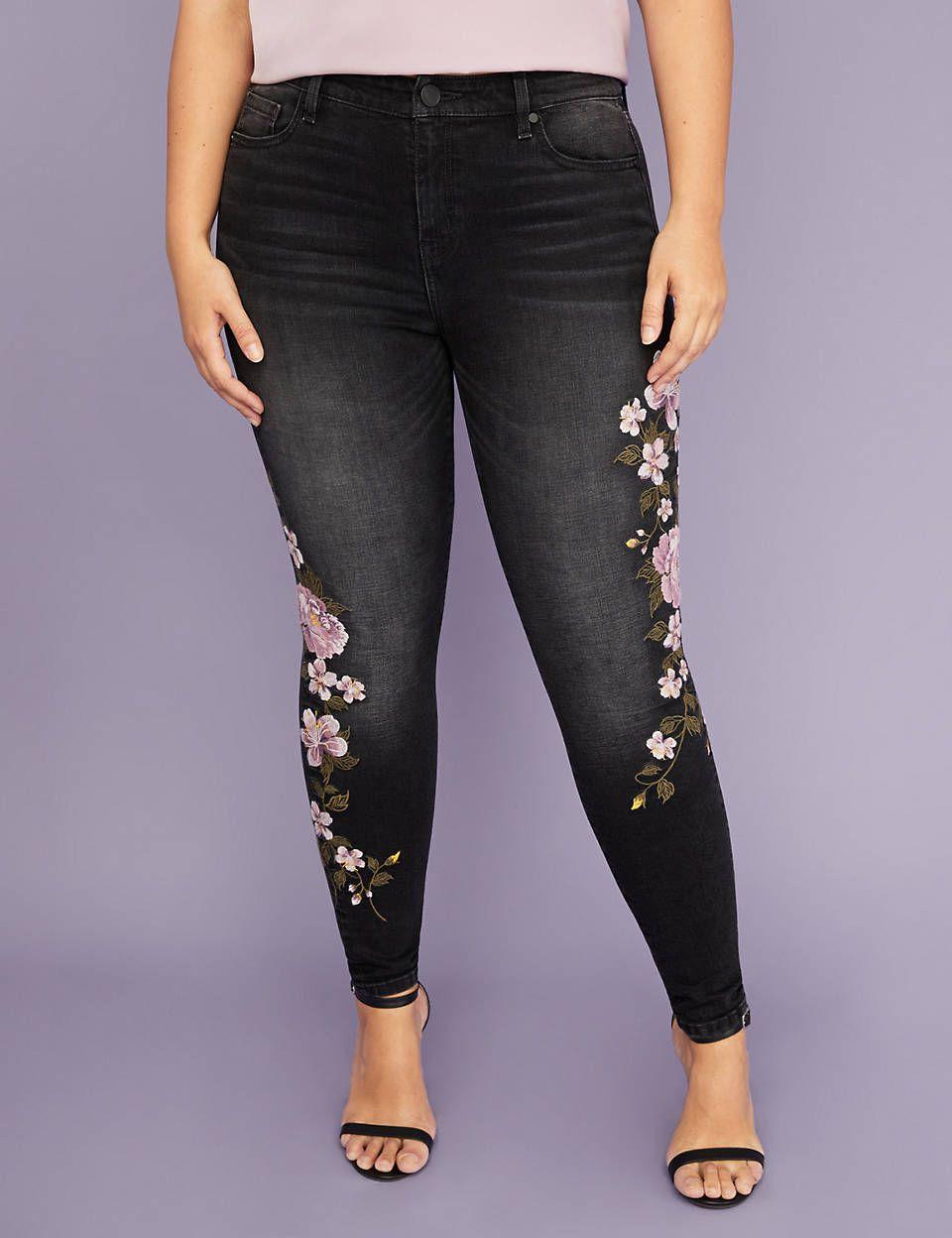 30d64deffda Super Stretch Skinny Jean - Purple Floral Embroidery