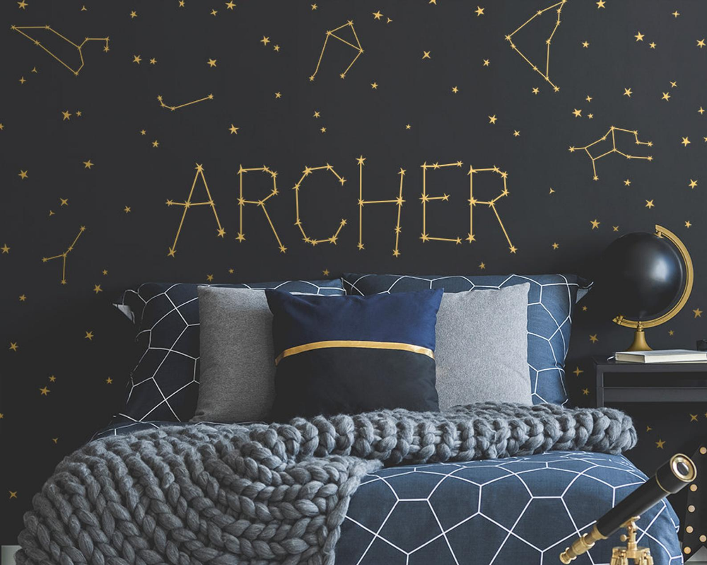 Custom Name Vinyl Decal Personalized Name Vinyl Decal Personalized Kids Name Custom Kids Name Custom Nursery Decal Constellations Decal In 2020 Constellation Decal Boys Space Bedroom Constellation Wall Decal