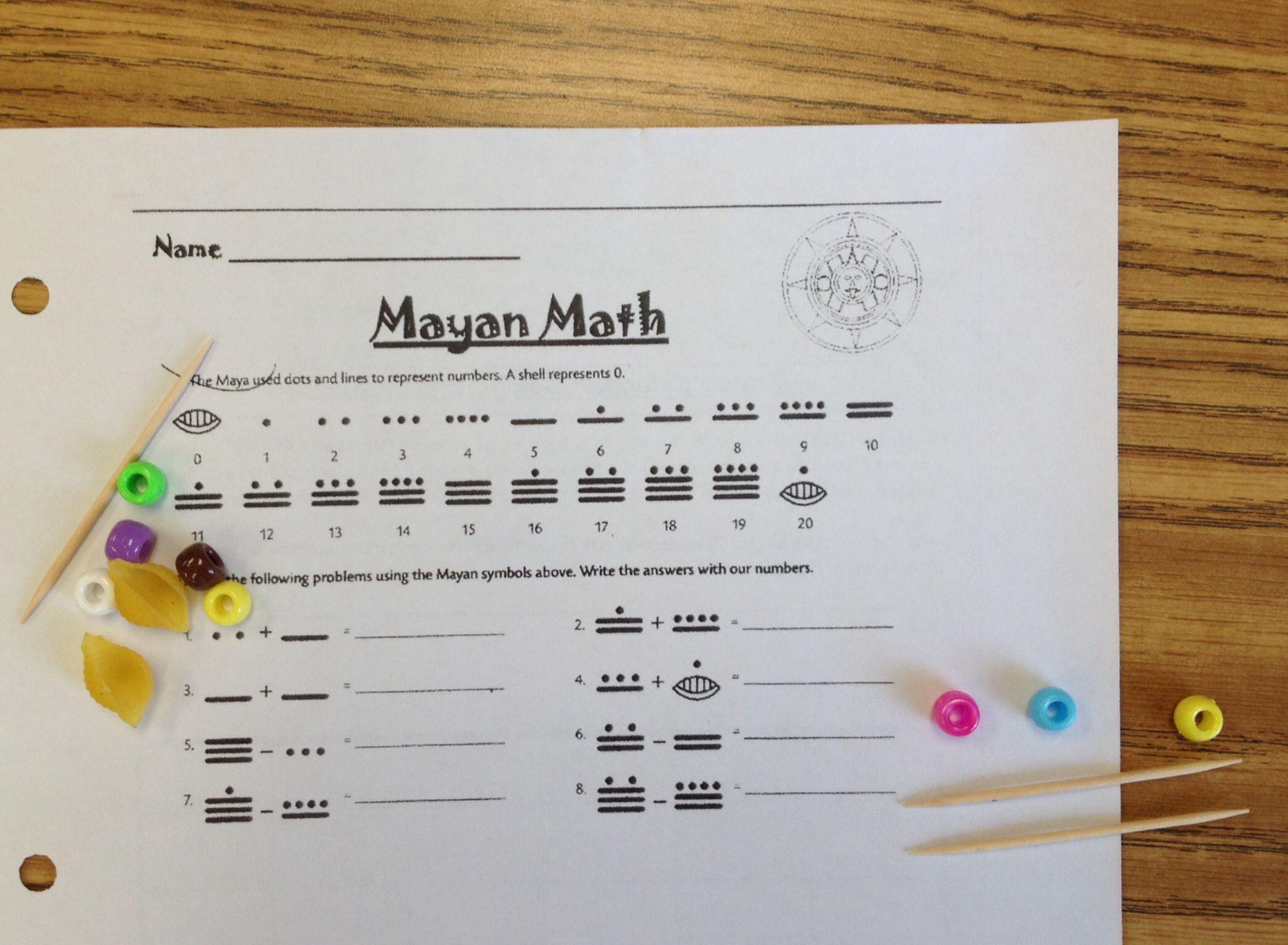 Mayan Math Activity Using Macaroni Shells Toothpicks And