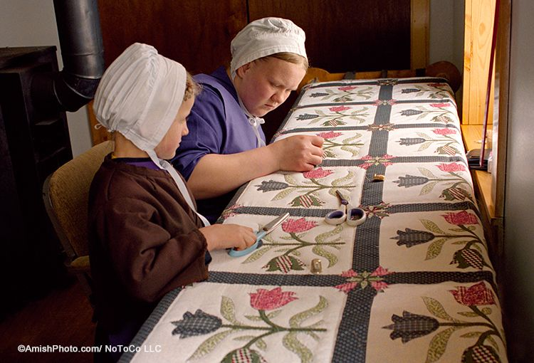 """The Quilter's Apprentice"" - A daughter helps her mother work on an intricate quilt."