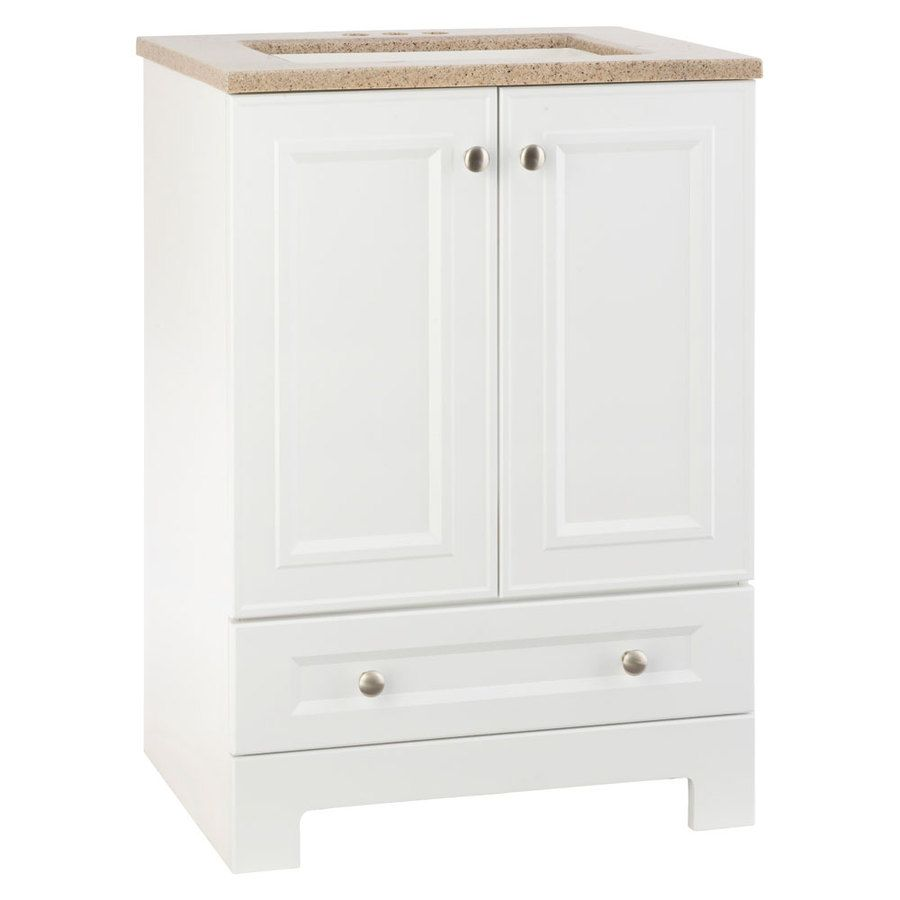 Photo Gallery In Website Shop Style Selections Emberlin White Integral Single Sink Bathroom Vanity with Solid Surface Top Common x Actual