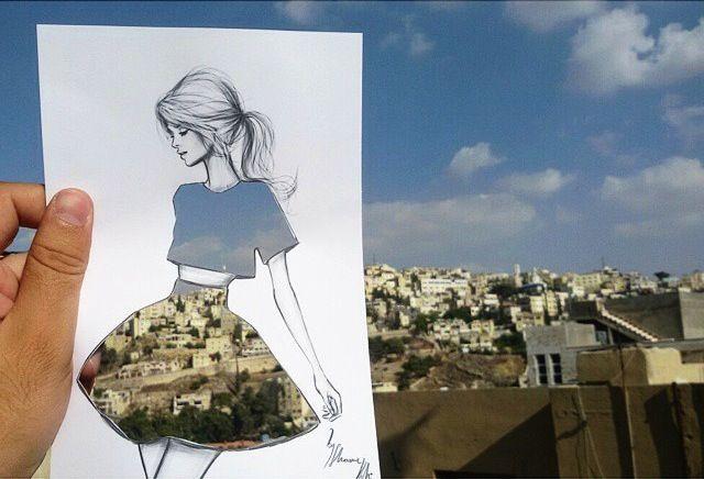 """""""Shamekh AlBluwi, architetto e artista vivente in Giordania, crea le illustrazioni in un modo totalmente nuovo e innovativo utilizzando scene di strada. Egli ritaglia sezioni di bozzetti di m…"""