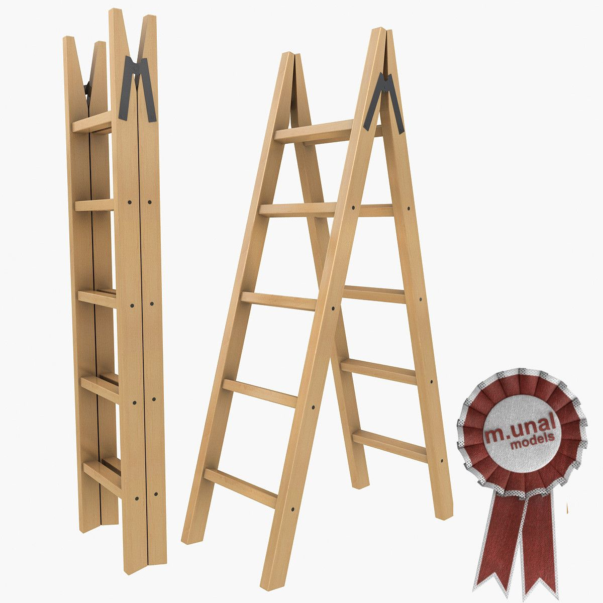 Max Wooden Folding Ladder - 3D Model