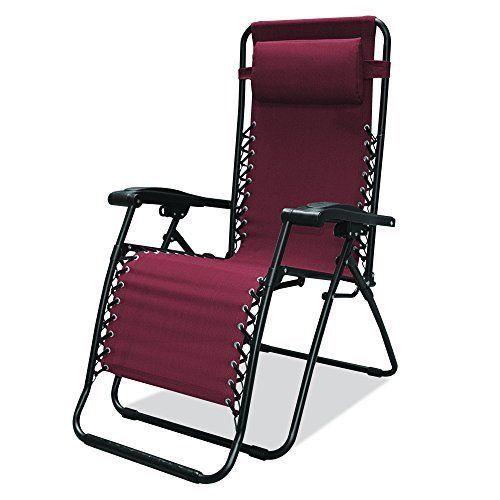 Folding Zero Gravity Chair Infinity Pool Deck Yard Garden Outdoor Patio Burgundy #CaravanSports