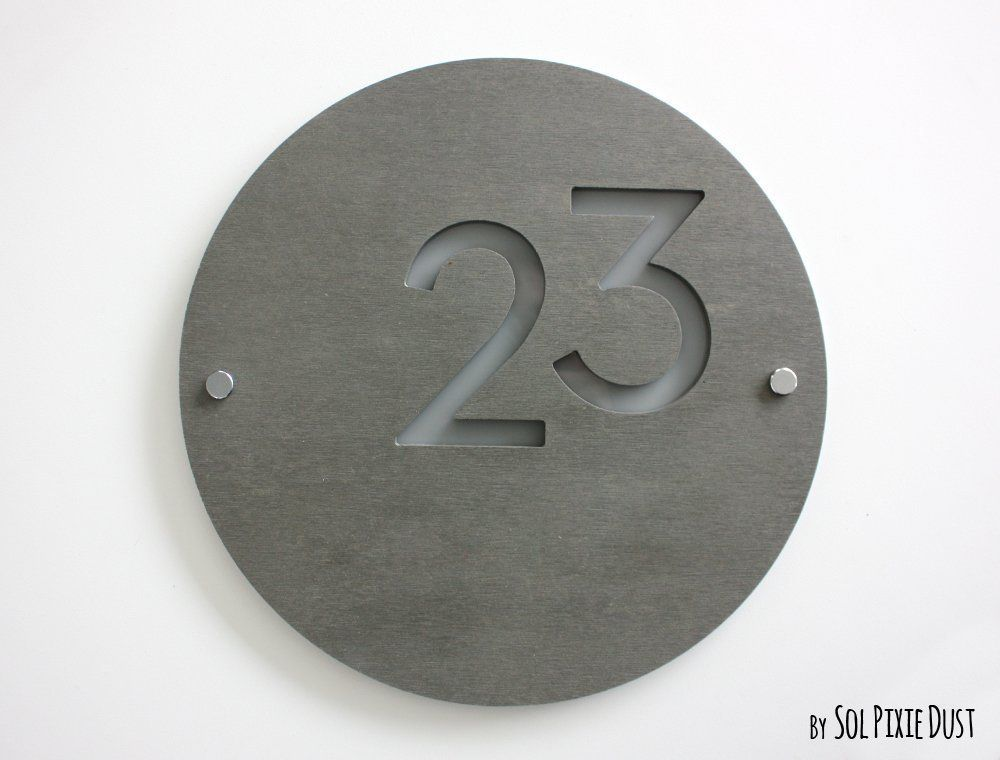 Modern House Numbers Round Concrete With Gray Acrylic Contemporary Home Address Sign Plaque Door Number Code Furniture