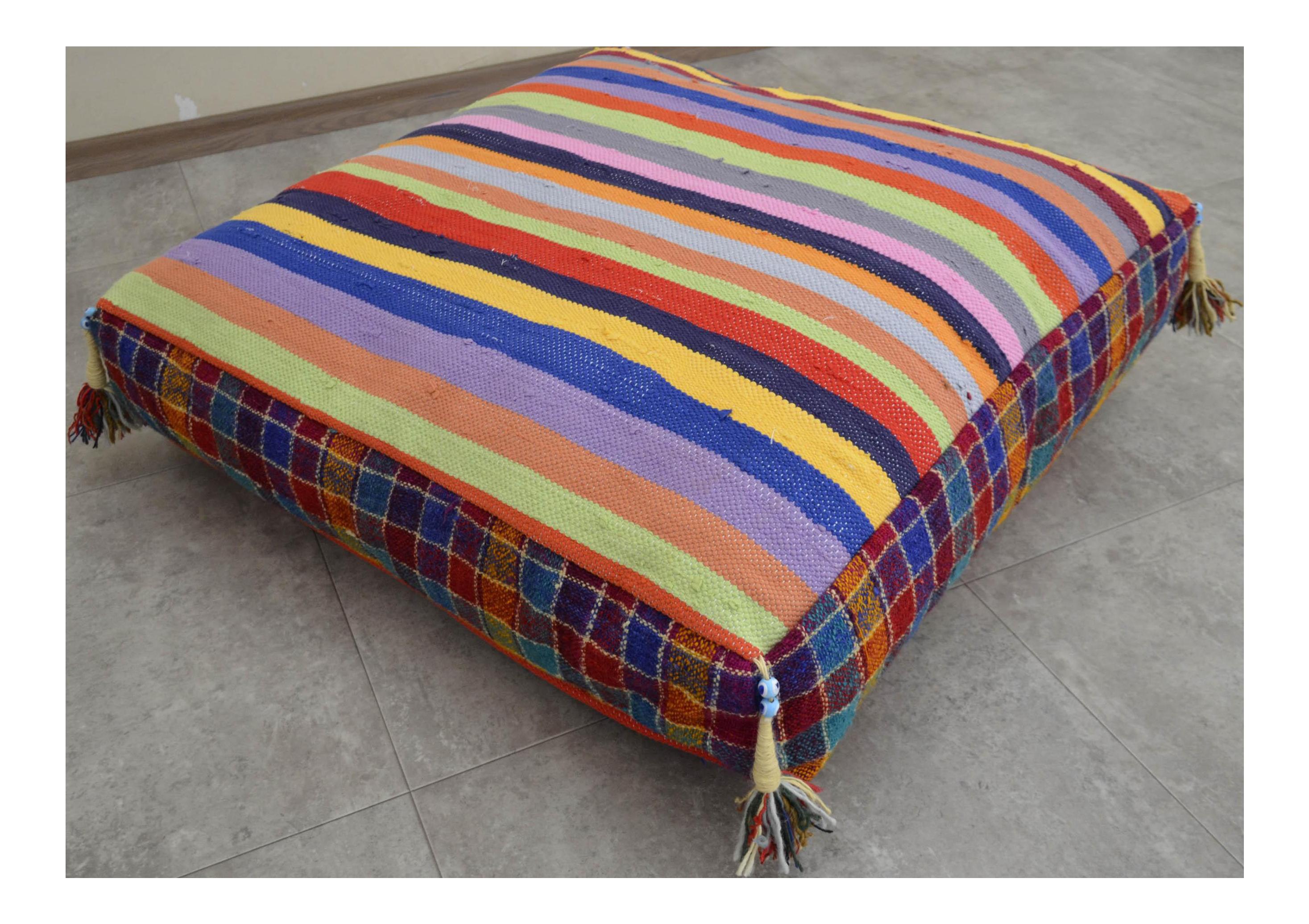 turkish hand woven kilim floor cushion
