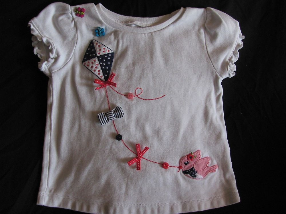 c3abafbd0 White Short Sleeve Knit Top. Kite With Bird & Bows. Blooming Nautical.  Gymboree, 3T. There Was A Tiny Hole On The Shoulder, So I Sewed On 2  Butterflies.