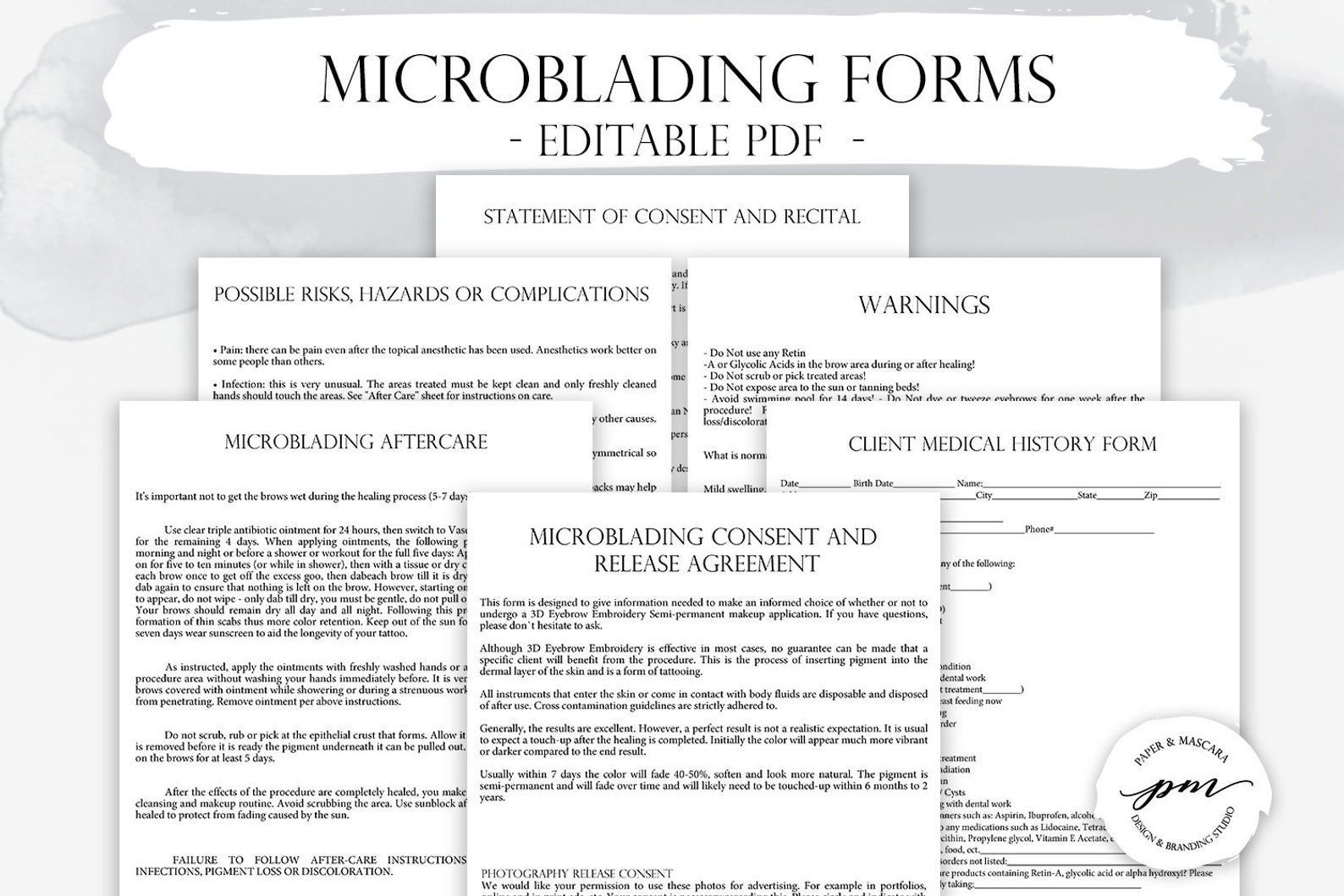 Permanent makeup forms for microblading microblading