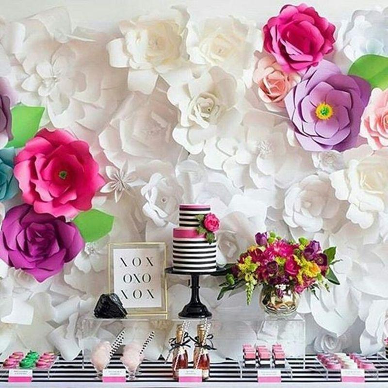 Decoraç u00e3o com flores gigantes para festa de aniversário Papel Flores Gigantes Paper flower  -> Decoração De Flores De Papel Para Aniversario