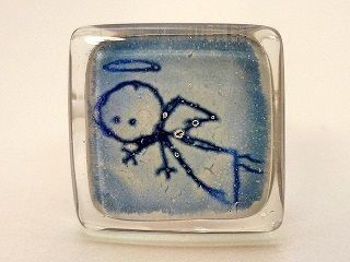 """Anillo infantil vidrio """"ángel"""". Ajustable. Azul de BGLASSbcn por DaWanda.com"""
