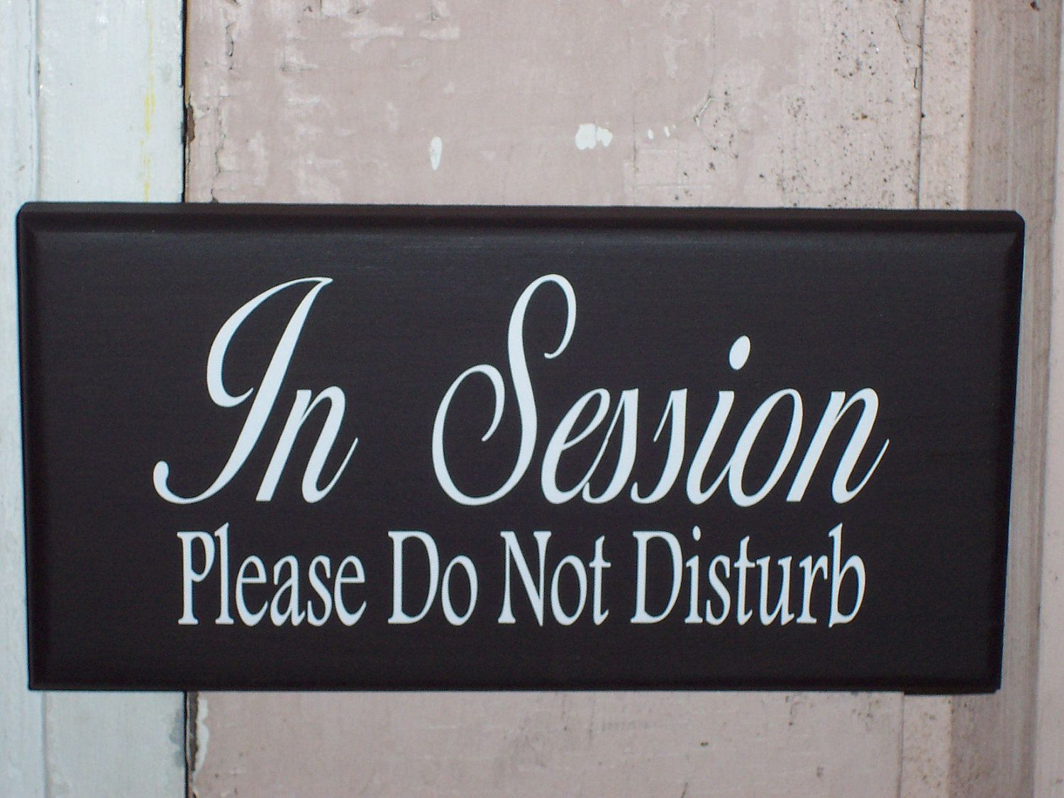 in session please do not disturb wooden vinyl sign office door
