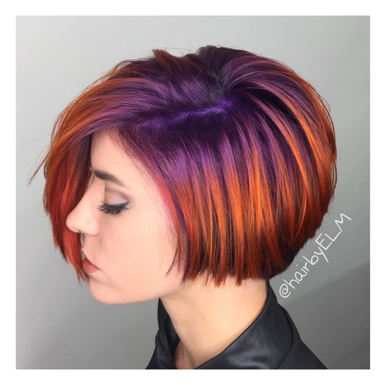 We Are Loving This Short Haircut With Its Bright Purple To Violet Base Melted Into A Fiery Copper Red Co Short Hair Styles Hair Styles Short Hair With Layers