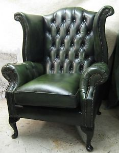 Antique Green Leather Chair Chesterfield Wing Chair