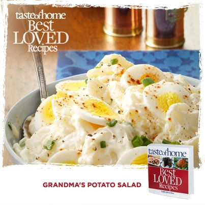 Your Best Loved Recipes: Grandma's Potato Salad from the kitchen of Sue Gronholz in Beaver Dam, Wisconsin. Order your copy today of the Best Loved Recipes cookbook at http://www.tasteofhome.com/best-loved-recipes/cookbook?Keycode=BLC71VH33M  #TasteofHome #BestLovedRecipes