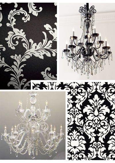 Chandelier lamps · love black white damask