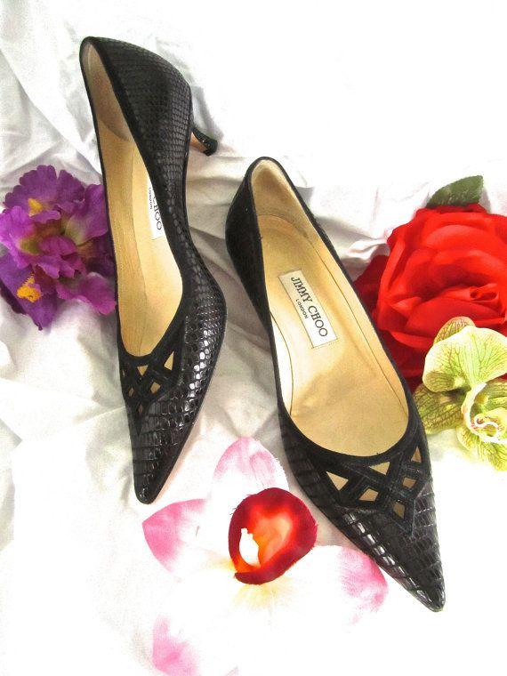 ffbb49c946a 38 Jimmy Choo Kitten Heel Black Snakeskin Pump Low Heel Shoes Pointy Toe  Retro Modern 60s Style Repro by LikewiseVintage