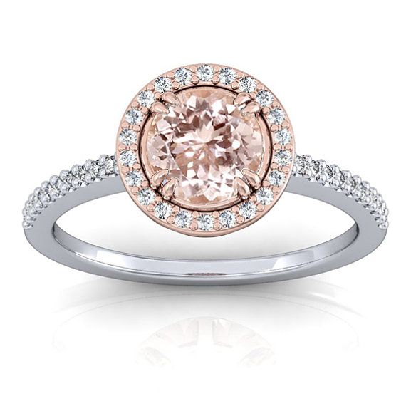 Rose Gold Halo Morganite Engagement Ring with by GerryTheJeweler, $870.00